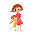 flat cartoon mother and daughter hugging vector image