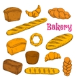 Fresh baked pastries and bread sketch icons vector image