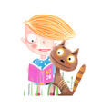 little kid and cat with book vector image