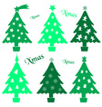 set of christmas green tree decoration collection vector image