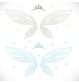 Winter fairy wings with tiara bundled isolated on vector image