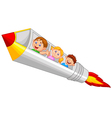 School Children Enjoying Pencil Rocket Ride vector image