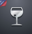 glass of wine icon symbol 3D style Trendy modern vector image