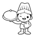 black and white chef mascot holding a pot vector image