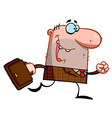 Caucasian Businessman Running vector image