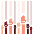 hands help set in two color art vector image