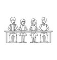 monochrome silhouette of teamwork of women and men vector image