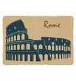 vintage rome coliseum logo emblem postcard design vector image