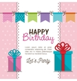 card gift bunting party birthday graphic vector image