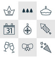 set of 9 christmas icons includes butterfly knot vector image