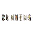 running text font design marathon runners vector image vector image