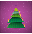 Colorful origami christmas tree with candles vector image