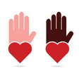 hands help with heart in red color vector image