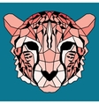 Orange low poly lined cheetah vector image
