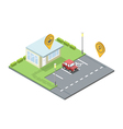set of city element parking place geo tag pin icon vector image