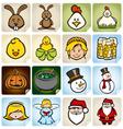 Sticker Set holidays vector image