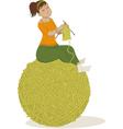 Woman knitting vector image