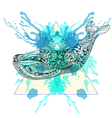 Zentangle stylized Whale in triangle frame with vector image