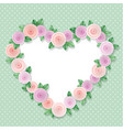 heart frame decorated with roses on polka dots vector image