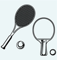 table Tennis racket and ball vector image vector image