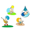 Funny childs playing sleeping and eating vector image