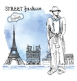 Trendy dude on watercolor backgroundParis street vector image