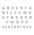Black and white thin line font Linear alphabet vector image