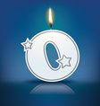 Candle letter O with flame vector image