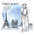Trendy dude on watercolor backgroundParis street vector image