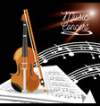 violin instrument with music sheets vector image