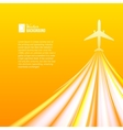 Airplane over orange background vector image vector image