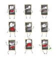 cute cartoon emoticon phones with gray faces set vector image