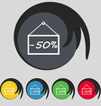 50 discount icon sign Symbol on five colored vector image
