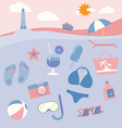 Colorful beach equipment icon set vector image