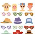 beach accessories summer hats people avatars vector image