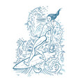 beautiful woman on surf board vector image