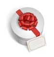 Classic gift box with red ribbon and bow vector image