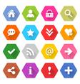 Flat basic icon set rounded hexagon web button vector image