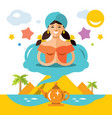 girl genie of the lamp flat style colorful vector image