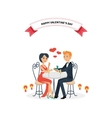 Happy Valentine Day Couple Sitting at Table vector image