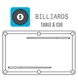 Icon of a billiard ball Pool table and cues vector image