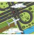 Scene with airplane flying over farmlands vector image