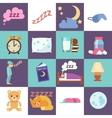 Sleep time flat icons vector image