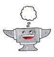 cartoon blacksmith anvil with thought bubble vector image