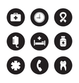 Hospital black icons set vector image