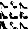 Set of black shoes silhouettes on white background vector image