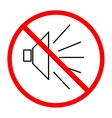 No noise sign in red circle on white background vector image