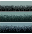 Audience with hands silhouette raised music vector image