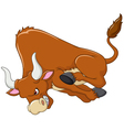 Cartoon angry bull is attacking isolated vector image