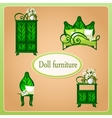 Green eco dollhouse furniture vector image